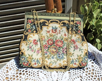 Vintage. Floral/tapestry/black/pink/gold chain strap/clutch/evening bag/handbag/ Very cute bag! Nice clean bag!
