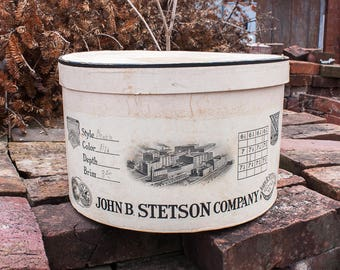 Early Stetson Hat Box Vintage Antique Advertising