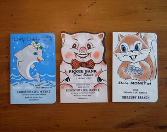 3 Vintage Unused Coin Saver Cards - 1950's 1960's Dime Quarter Child's Coin Bank Money Saver Cards - Vintage Coin Collector Bank Cards Lot