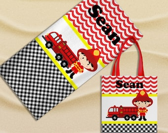Personalized Firefighter Beach Towel, Beach Tote Bag - Custom Fire Truck Swim Set w/ Towel and Tote Bag - Boys' Birthday or Vacation Gift