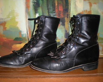 Men's Size 8D/Women's 10 Black Diamond J Boots Lace Up Ropers Kiltie Cowboy Steampunk Granny Boots