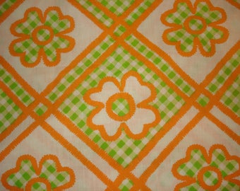Vintage Daisy, Periwinkle Flower Cotton Fabric Orange, White & Green Gingham pattern One Piece 1 yard and 10 inch 44 inch wide