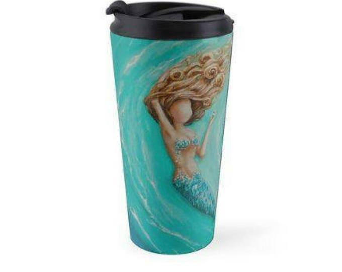 Mermaid teal travel mug, insulated stainless steel mermaid mug drink holder, Original art by Nancy Quiaoit.