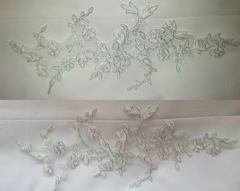 1 30 cm X 13 cm silver guipure lace applique