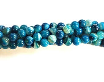 8mm Blue Striped Agate Beads