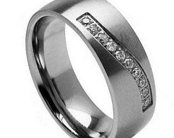 Titanium Ring with 10 Round-cut Cubic Zirconia on a Wave Groove