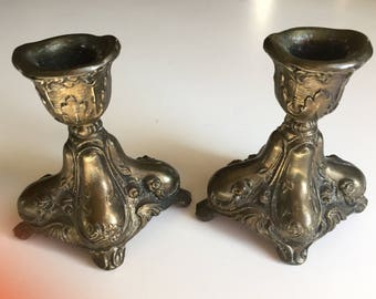 SALE Candle Holders Cast Metal Set of 2 Classic Provincial Design Vintage