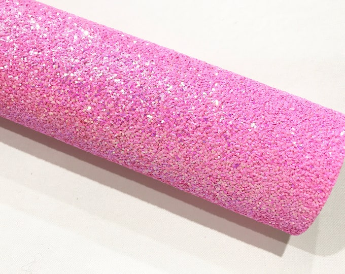 Iridescent Bright Pink Chunky Glitter A4 Sheet