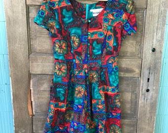 Vintage 90's Orange and Teal Abstract Tropical Print Mini Romper by Joni Blair Size Small