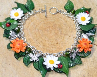 Summer Flowers Daisy and Marigold Bracelet - Handmade Polymer Clay Jewellery
