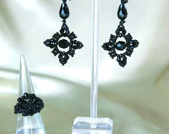 Black glass bead earring and ring set