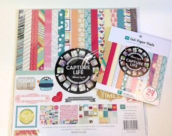 "Echo Park ""Capture Life"" 12"" x 12"" Collection Kit, 6"" x 6"" pad plus extra paper"
