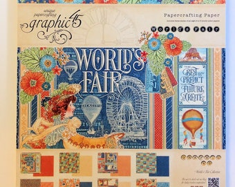 "Graphic 45 ""World's Fair"" 8"" x 8"" Paper Pad and 6"" x 6"" Patterns & Solids Paper Pad"