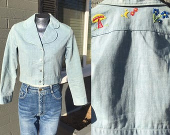 Vintage Medium Crop Wrangler Denim Jacket Embroidered with a Mushroom Moon and flowers