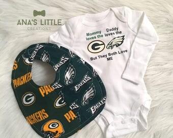 Packers - Eagles Bodysuit and Bib, Phialdelphia Eagles and Green Bay Packers Baby Bib and Bodysuit 2pc