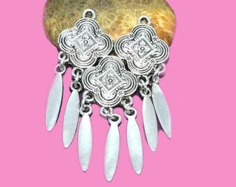 Silver boho chandelier 55x32x02mm sequins