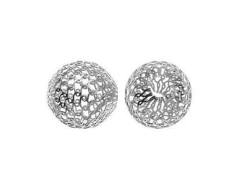4pcs Sterling Silver filigree beads 6mm , 925 Silver