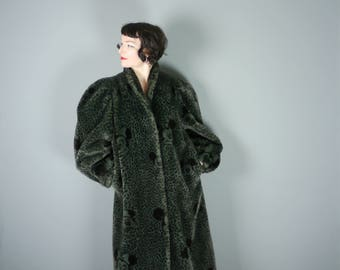 80s 90s DISNEY faux fur coat - LEOPARD animal print with large MICKEY Mouse and Minne Mouse heads - rockabilly / kitsch winter coat -