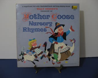 Walt Disney - Mother Goose Nursery Rhymes - Full-Color Illustrated Book included! - Circa 1965