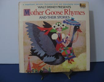 Walt Disney - Mother Goose Rhymes - Full Color Illustrated Story Book Included! - Circa 1969