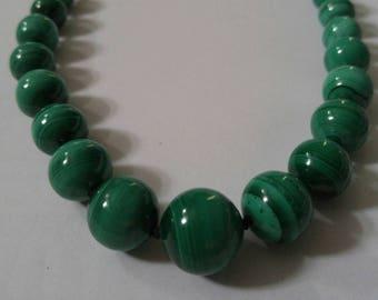 Natural Malachite graduated bead necklace