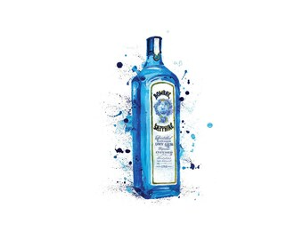 Bombay Sapphire, A3 Print, original painting, blue bottle, gin bottle, gin print, bombay art, still life, still life bottle, bombay gin
