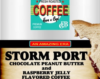 Storm Port, Chocolate Peanut Butter and Raspberry Cream Jelly Flavored Coffee. 2oz