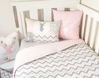 Pink and Grey nursery set - Choose your own backing fabric