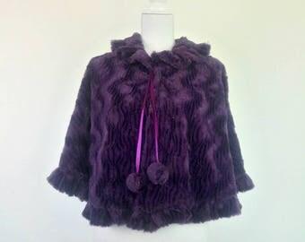Vintage 80s purple plush cape faux fur poncho hippie