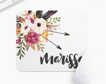 Personalized Floral Mouse Pad, Flower Mousepad, Rectangle or Round Circular, Gift mp0028