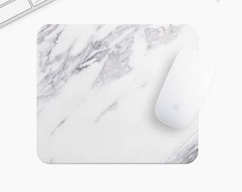 Marble Mouse Pad, Gray Marble Mousepad, Rectangle or Round, Gifts for Women, Gift mp0031