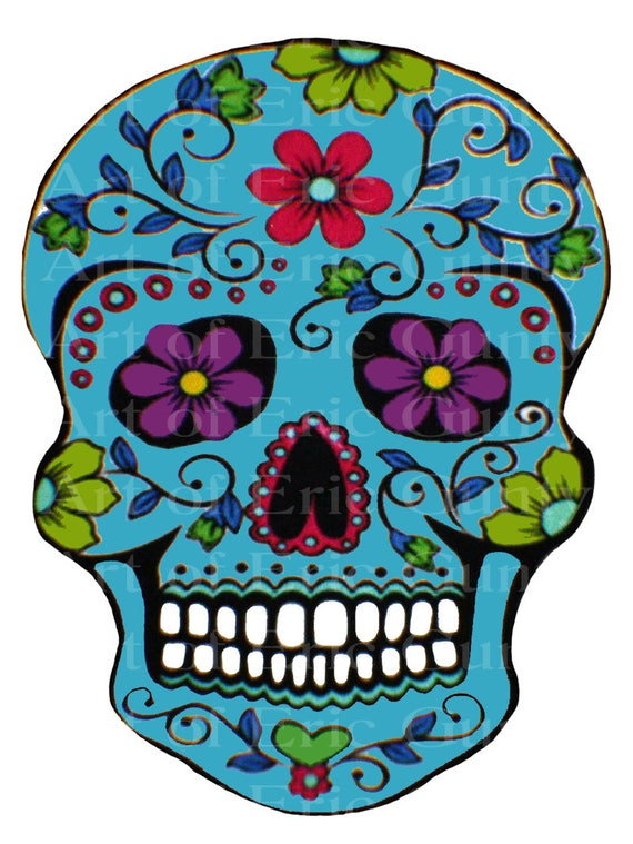 Teal Sugar Skull Halloween Birthday - Edible Cake and Cupcake Topper For Birthday's and Parties! - D22648