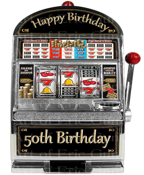 Las Vegas Happy 50th Birthday Slot Machine - Edible Cake and Cupcake Topper For Birthday's and Parties! - D22766