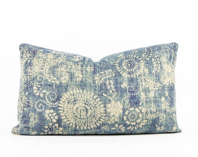 Chinese Indigo Batik Printed Linen Textile Lumbar Pillow Cover 12x20