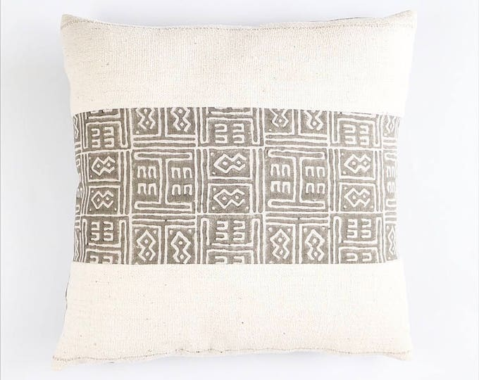 READY TO SHIP Hand Block Printed Tribal African Linen And African Mudcloth Pillow Cover 20x20