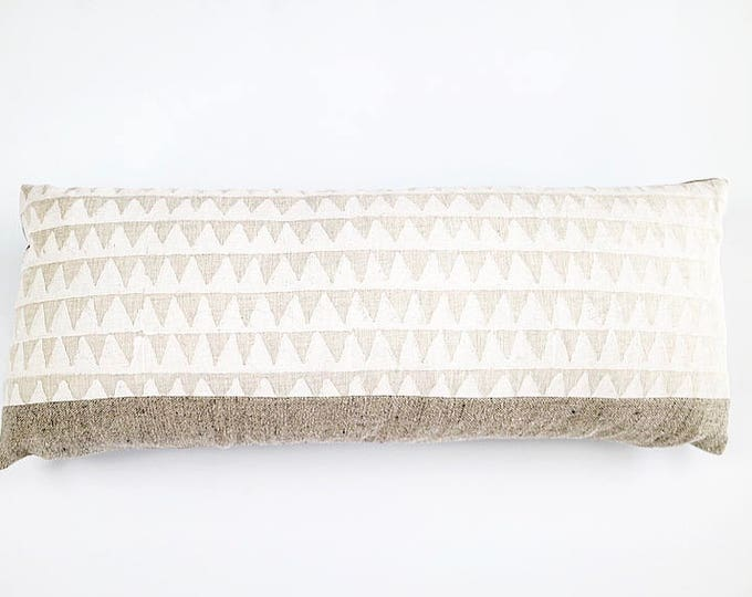 READY TO SHIP Hand Block Printed Linen And Belgian Linen Lumbar Pillow Cover Various Sizes