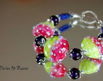 Glass bracelet * candy * pink/green/purple glass - unique - handmade Lampwork