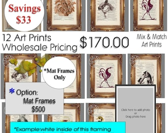 12 ART PRINTS Wholesale Pricing - Mix & Match Art Prints Beautifully Upcycled Dictionary Page Book Art Print