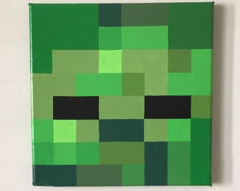 "Minecraft Inspired ""Zombie"" Wall Decor Hand Painted"
