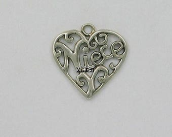 Sterling Silver Niece Filigree Heart Charm