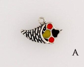 Sterling Silver Enamel Cornucopia Charm, Choice of Earrings Adapter Necklace