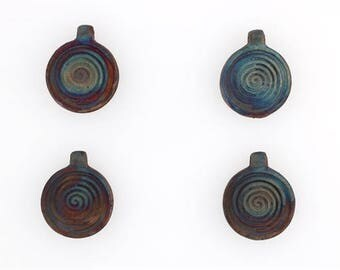 Multicolored Matte Raku Ceramic First Swirlings Pendants