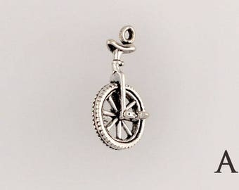 Sterling Silver Unicycle Charm, Choice of Earrings, Adapter or Necklace