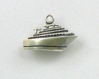 Sterling Silver 3-D Cruise Ship Charm