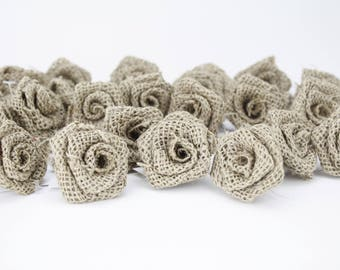 Natural Burlap Rose Decor (Pack of 12pcs) - More colors and Size (BR0xx-xx)