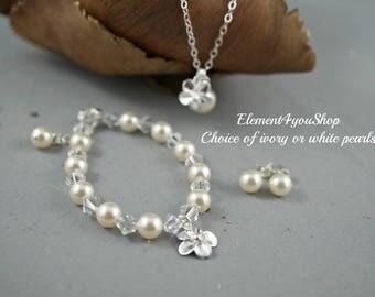 Child Necklace Bracelet Earrings Flower Girl Swarovski Crystal Pearls Bracelet Sterling Silver Flower Charm Chain Junior bridesmaid gift