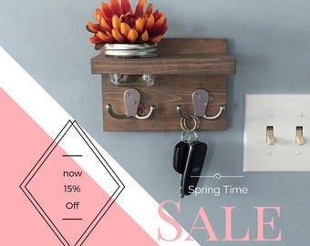 Key Holder, apartment decor, small key hook, wall decor, planter, succulent, coat rack, mason jar, shelf, for her, for him, wood key hook