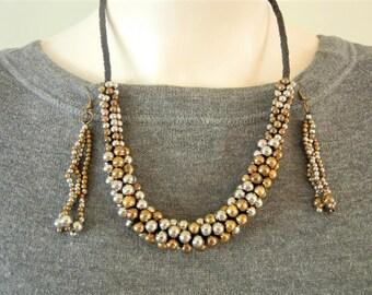 vintage Esmor necklace, Esmor copper silver necklace, Esmor copper necklace, mixed metal necklace, mid century modern, mixed metal jewelry