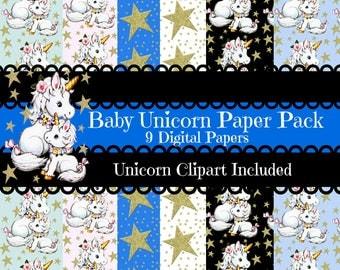 Baby Unicorn Digital Paper Pack Unicorn 9 Digital Papers Baby Unicorn Gift Wrap Blog Wall Paper Unicorn Digital Download Art Unicorn Clipart