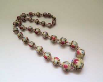 Vintage Murano Glass Necklace 1940's Venetian Wedding Cake Beads In White, Pink, Blue and Gold